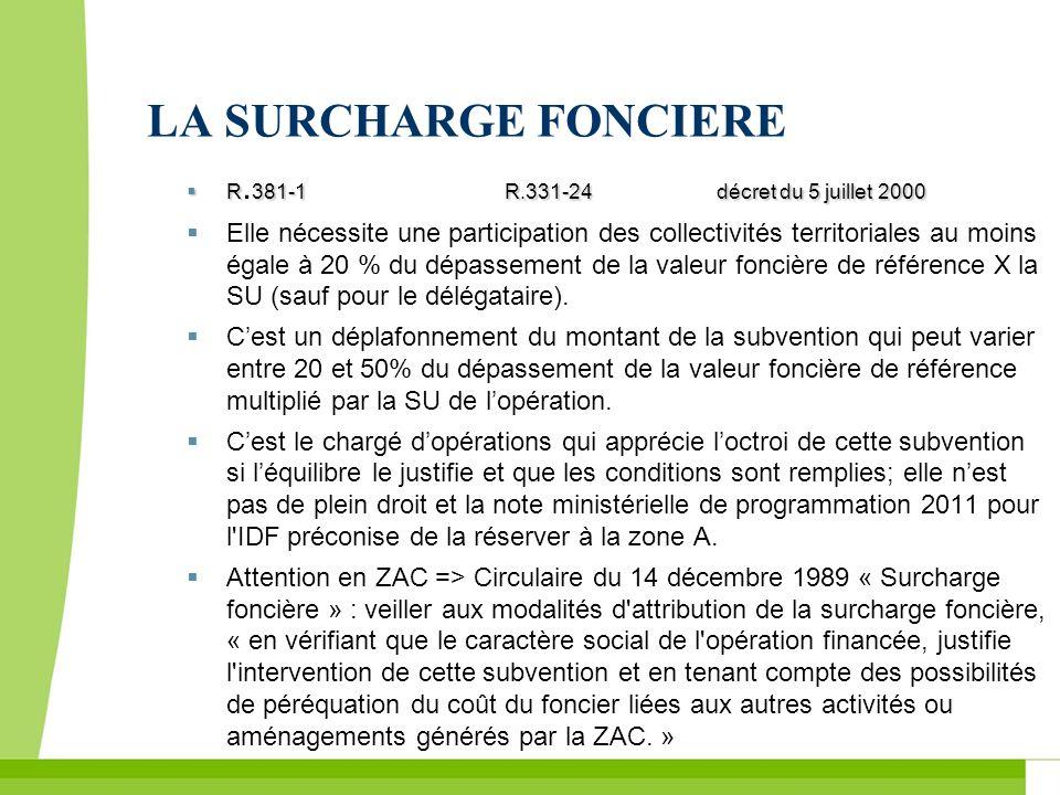 LA SURCHARGE FONCIERE R381-1R.331-24décret du 5 juillet 2000 R. 381-1R.331-24décret du 5 juillet 2000 Elle nécessite une participation des collectivit