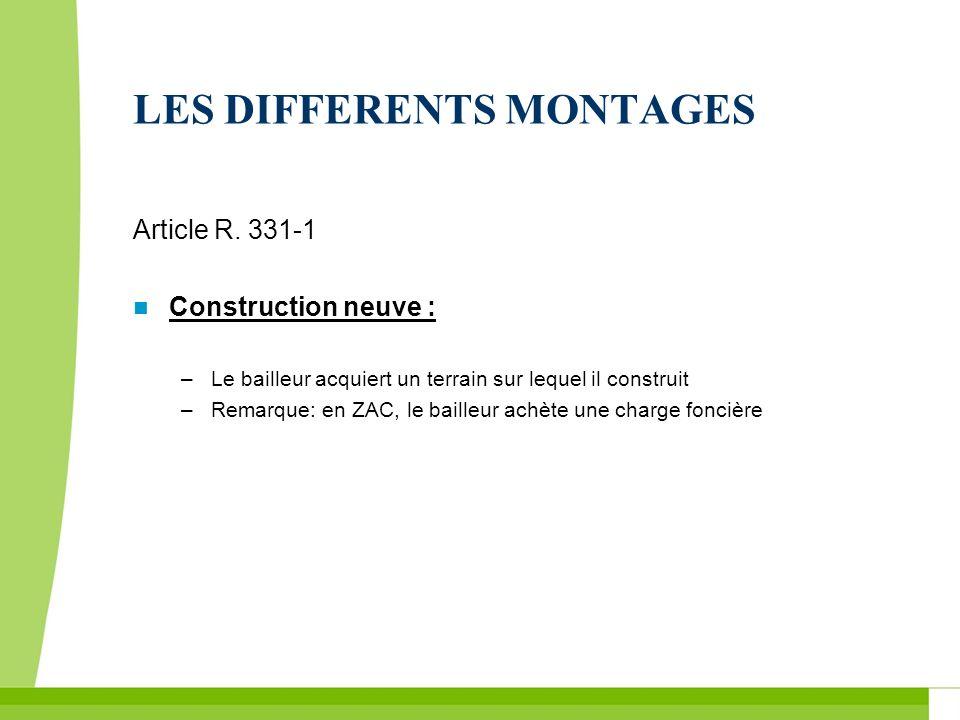 LES DIFFERENTS MONTAGES Article R. 331-1 Construction neuve : –Le bailleur acquiert un terrain sur lequel il construit –Remarque: en ZAC, le bailleur
