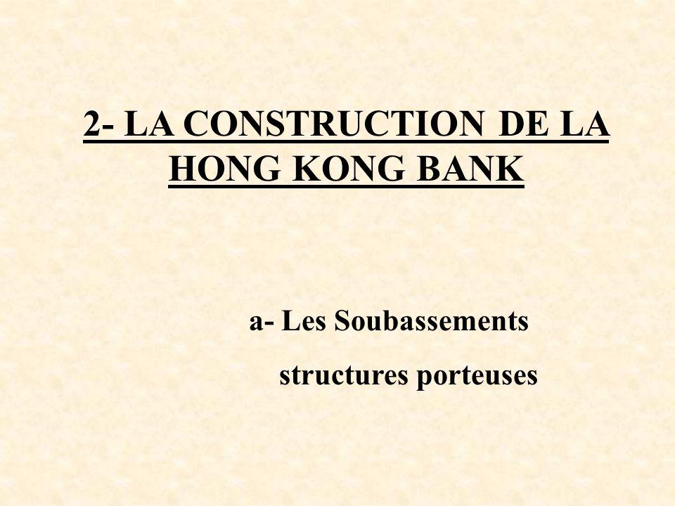 2- LA CONSTRUCTION DE LA HONG KONG BANK a- Les Soubassements structures porteuses