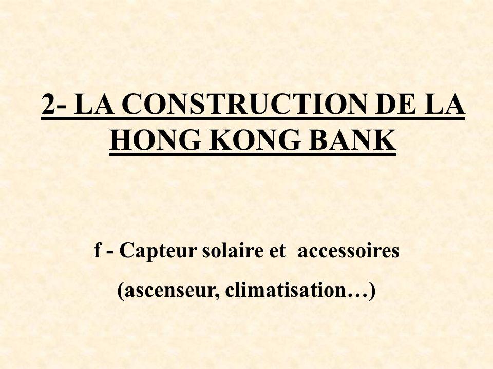 2- LA CONSTRUCTION DE LA HONG KONG BANK f - Capteur solaire et accessoires (ascenseur, climatisation…)