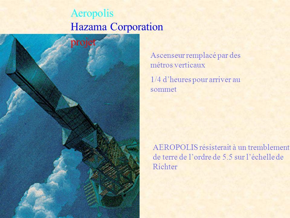 Aeropolis Hazama Corporation projet Ascenseur remplacé par des métros verticaux 1/4 dheures pour arriver au sommet AEROPOLIS résisterait à un tremblem
