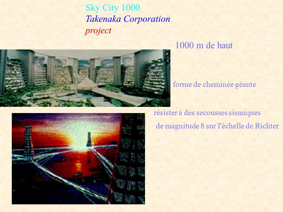 Sky City 1000 Takenaka Corporation project forme de cheminée géante 1000 m de haut résister à des secousses sismiques de magnitude 8 sur l'échelle de