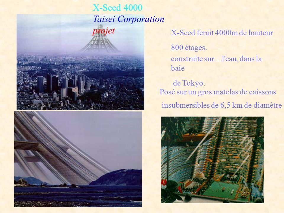 X-Seed 4000 Taisei Corporation projet X-Seed ferait 4000m de hauteur 800 étages. construite sur....l'eau, dans la baie de Tokyo. Posé sur un gros mate