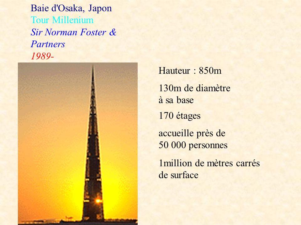 Baie d'Osaka, Japon Tour Millenium Sir Norman Foster & Partners 1989- Hauteur : 850m 130m de diamètre à sa base 170 étages accueille près de 50 000 pe