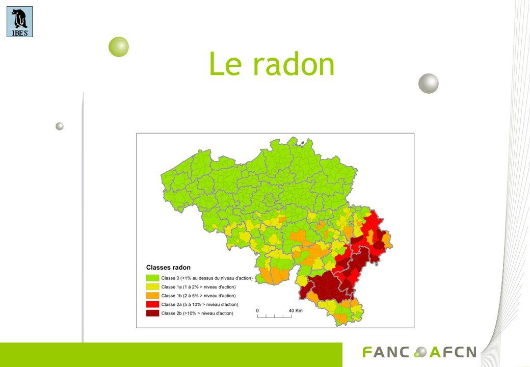 Le Radon dans les habitations De par son état gazeux, le radon peut séchapper du sol ou de matériaux de construction vers latmosphère Il se faufile au travers des fissures dans des dalles en béton ou au travers de lézardes dans les murs ou les pierres Dans des lieux fermés (maisons, écoles, entreprises), le radon peut saccumuler et donner lieu à de fortes concentrations Il faut donc 1.Empêcher le radon dentrer dans la construction 2.Diluer et évacuer le radon qui pénètre vers lintérieur de la construction