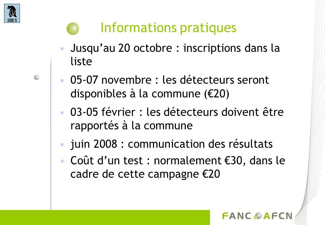 Informations pratiques Jusquau 20 octobre : inscriptions dans la liste 05-07 novembre : les détecteurs seront disponibles à la commune (20) 03-05 févr