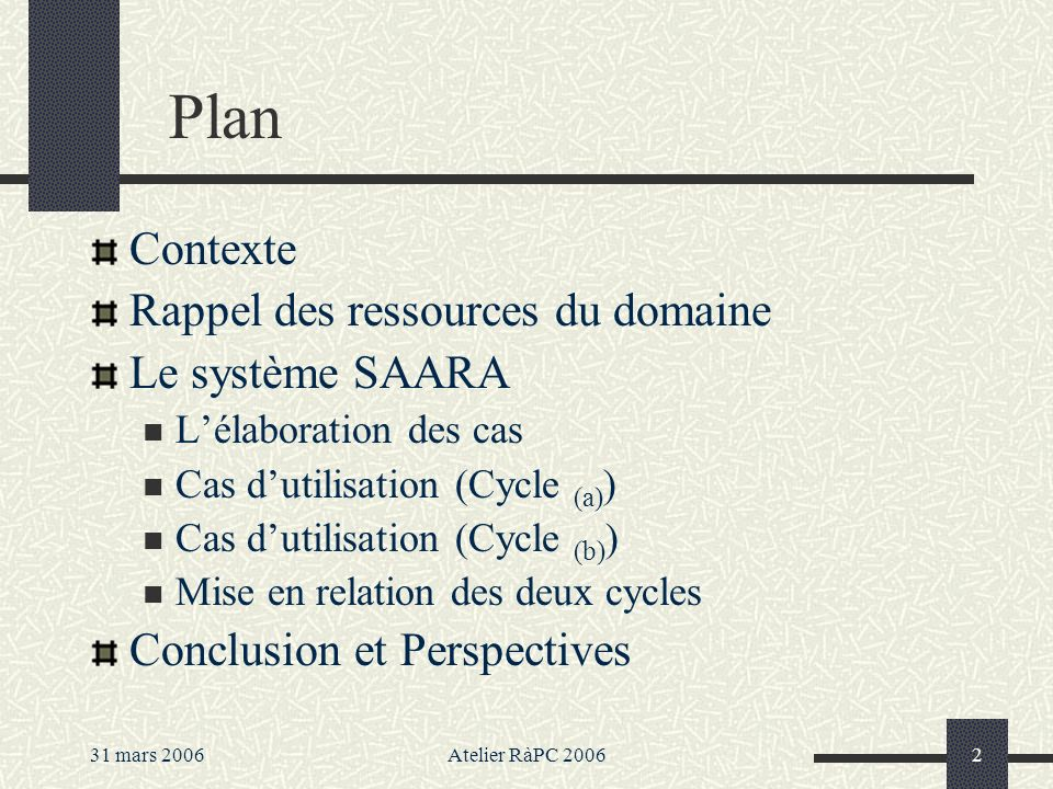 31 mars 2006Atelier RàPC 20062 Plan Contexte Rappel des ressources du domaine Le système SAARA Lélaboration des cas Cas dutilisation (Cycle (a) ) Cas dutilisation (Cycle (b) ) Mise en relation des deux cycles Conclusion et Perspectives