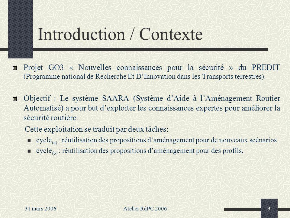 31 mars 2006Atelier RàPC 20063 Introduction / Contexte Projet GO3 « Nouvelles connaissances pour la sécurité » du PREDIT (Programme national de Recherche Et DInnovation dans les Transports terrestres).