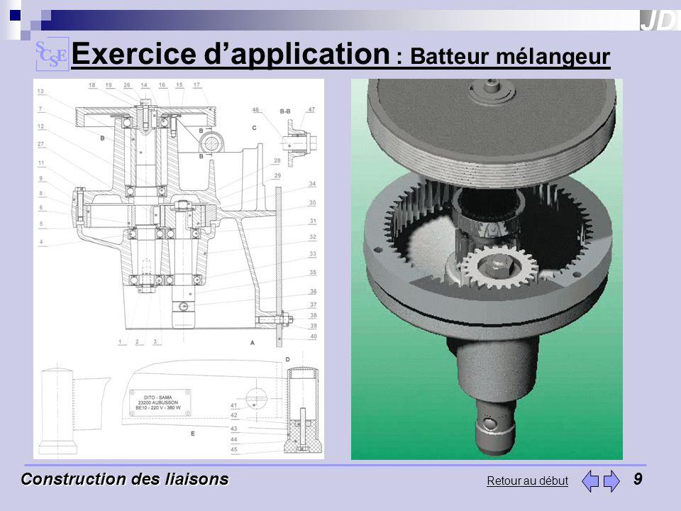 Exercice dapplication : Batteur mélangeur Construction des liaisons Construction des liaisons9 Retour au début