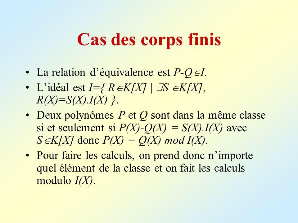 Cas des corps finis La relation déquivalence est P-Q I. Lidéal est I={ R K[X]   S K[X], R(X)=S(X).I(X) }. Deux polynômes P et Q sont dans la même clas