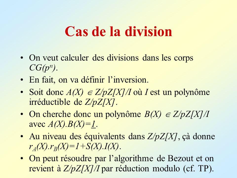 Cas de la division On veut calculer des divisions dans les corps CG(p n ). En fait, on va définir linversion. Soit donc A(X) Z/pZ[X]/I où I est un pol