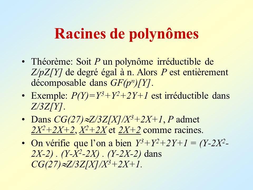 Racines de polynômes Théorème: Soit P un polynôme irréductible de Z/pZ[Y] de degré égal à n. Alors P est entièrement décomposable dans GF(p n )[Y]. Ex