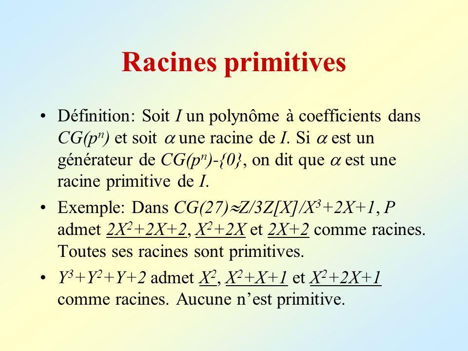 Racines primitives Définition: Soit I un polynôme à coefficients dans CG(p n ) et soit une racine de I. Si est un générateur de CG(p n )-{0}, on dit q