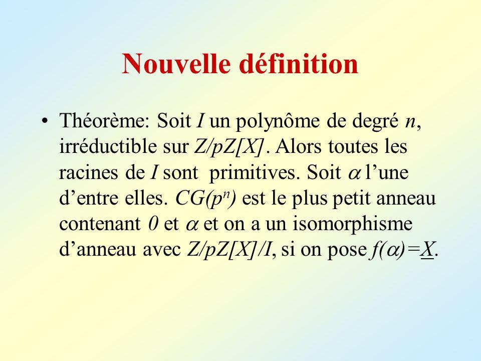 Nouvelle définition Théorème: Soit I un polynôme de degré n, irréductible sur Z/pZ[X]. Alors toutes les racines de I sont primitives. Soit lune dentre