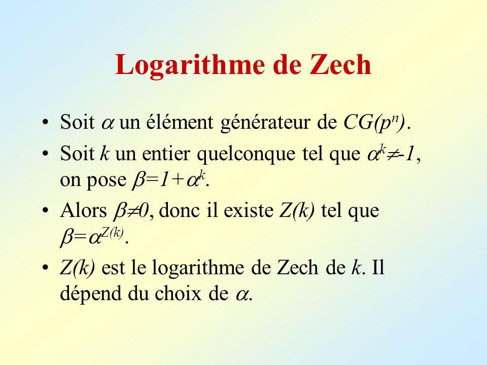 Logarithme de Zech Soit un élément générateur de CG(p n ). Soit k un entier quelconque tel que k -1, on pose =1+ k. Alors 0, donc il existe Z(k) tel q