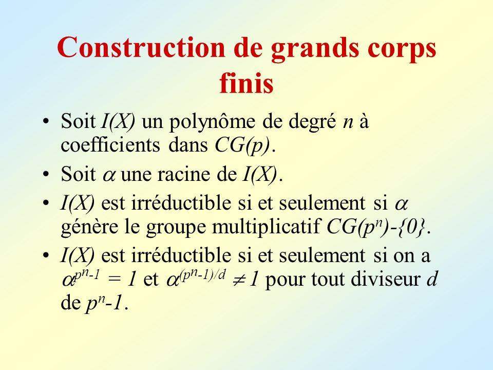 Construction de grands corps finis Soit I(X) un polynôme de degré n à coefficients dans CG(p). Soit une racine de I(X). I(X) est irréductible si et se