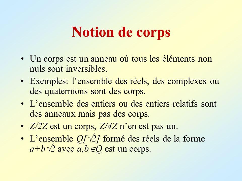 Notion de corps Un corps est un anneau où tous les éléments non nuls sont inversibles. Exemples: lensemble des réels, des complexes ou des quaternions