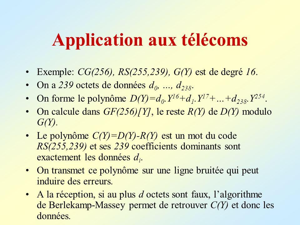 Application aux télécoms Exemple: CG(256), RS(255,239), G(Y) est de degré 16. On a 239 octets de données d 0, …, d 238. On forme le polynôme D(Y)=d 0.