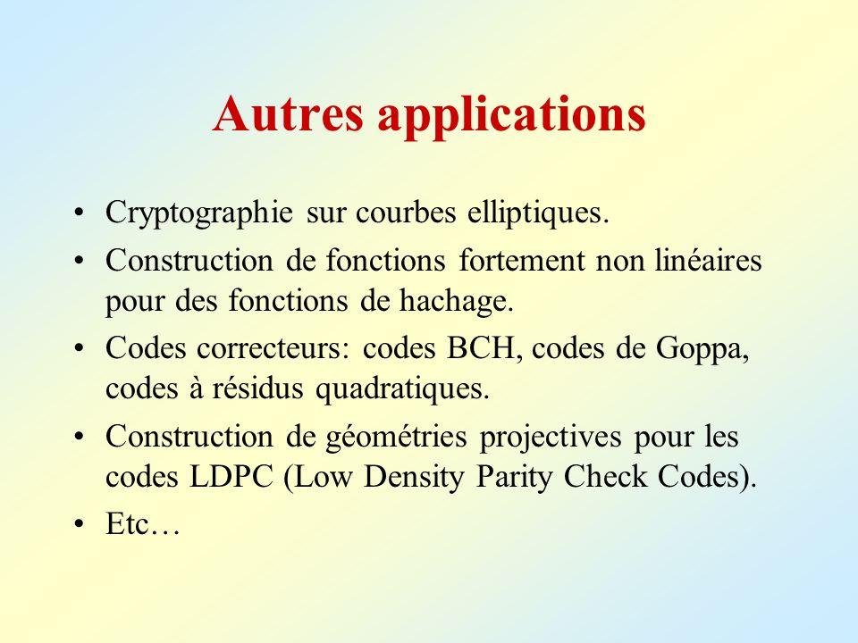 Autres applications Cryptographie sur courbes elliptiques. Construction de fonctions fortement non linéaires pour des fonctions de hachage. Codes corr