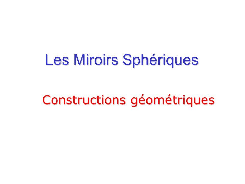 Les Miroirs Sphériques Constructions géométriques