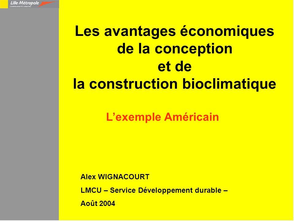 Les avantages économiques de la conception et de la construction bioclimatique Lexemple Américain Alex WIGNACOURT LMCU – Service Développement durable