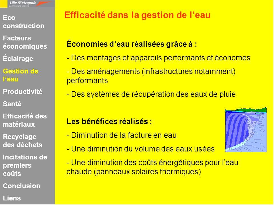 Économies deau réalisées grâce à : - Des montages et appareils performants et économes - Des aménagements (infrastructures notamment) performants - De