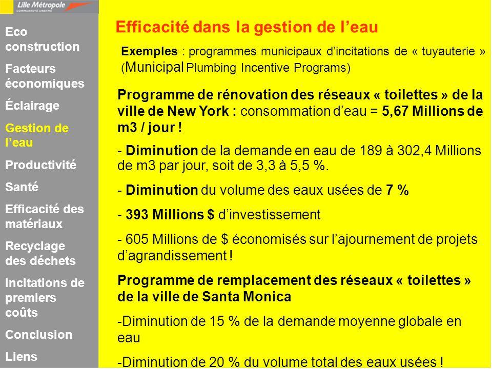 Exemples : programmes municipaux dincitations de « tuyauterie » ( Municipal Plumbing Incentive Programs) Programme de rénovation des réseaux « toilett