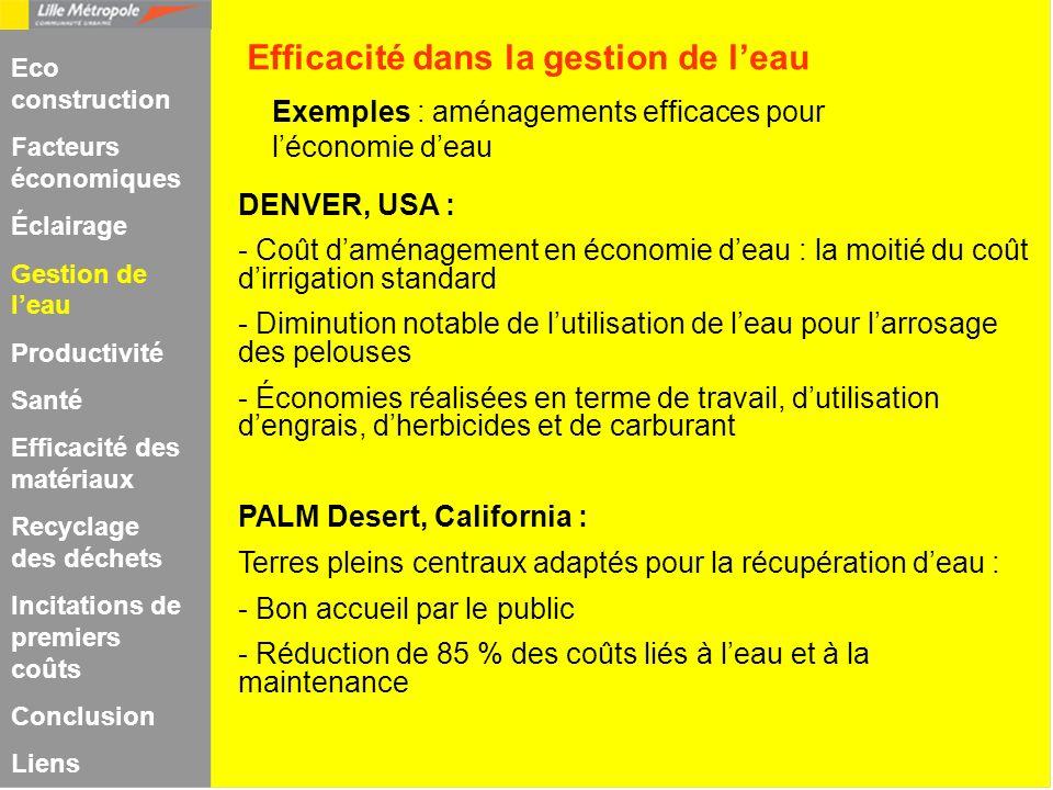 Exemples : aménagements efficaces pour léconomie deau DENVER, USA : - Coût daménagement en économie deau : la moitié du coût dirrigation standard - Di