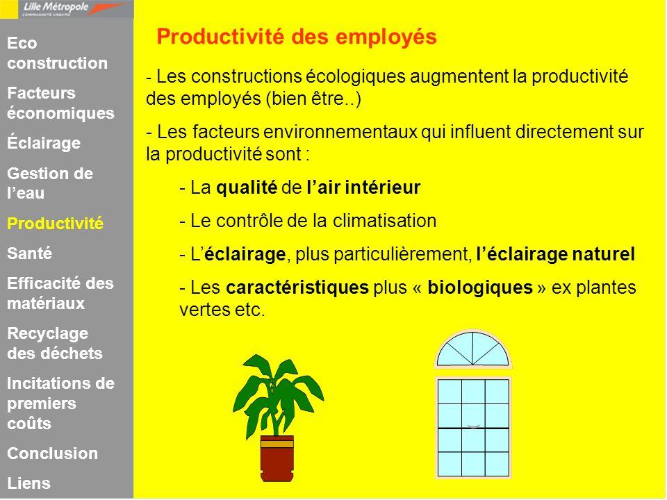 - Les constructions écologiques augmentent la productivité des employés (bien être..) - Les facteurs environnementaux qui influent directement sur la