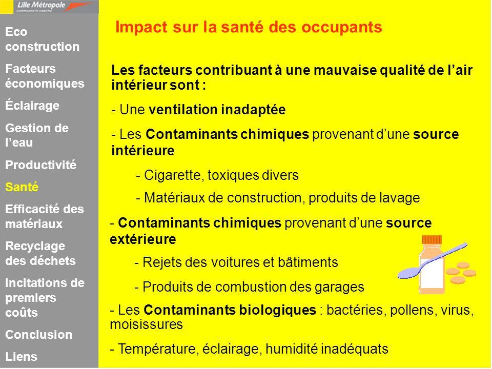 Les facteurs contribuant à une mauvaise qualité de lair intérieur sont : - Une ventilation inadaptée - Les Contaminants chimiques provenant dune sourc