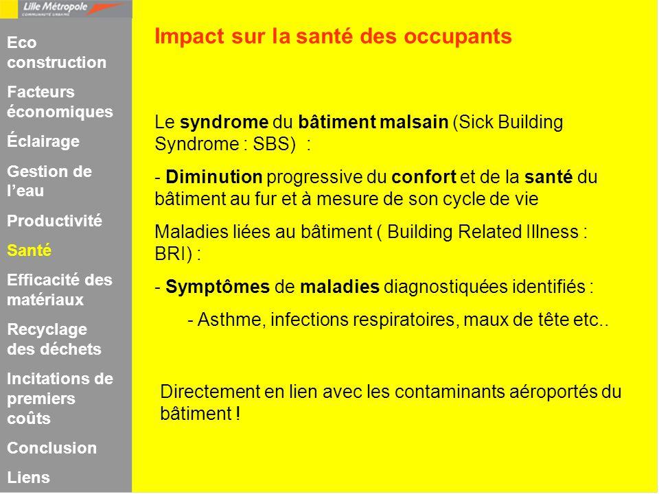 Le syndrome du bâtiment malsain (Sick Building Syndrome : SBS) : - Diminution progressive du confort et de la santé du bâtiment au fur et à mesure de