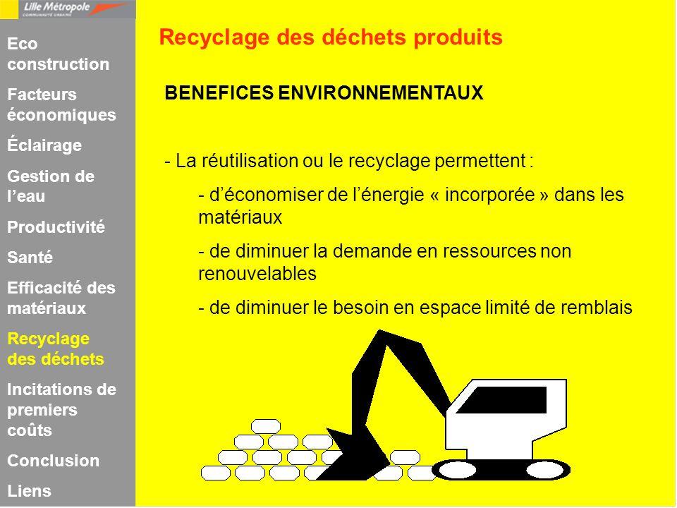BENEFICES ENVIRONNEMENTAUX - La réutilisation ou le recyclage permettent : - déconomiser de lénergie « incorporée » dans les matériaux - de diminuer l