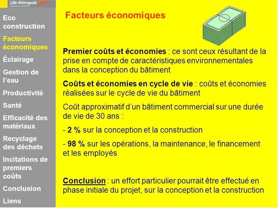 Premier coûts et économies : ce sont ceux résultant de la prise en compte de caractéristiques environnementales dans la conception du bâtiment Coûts e