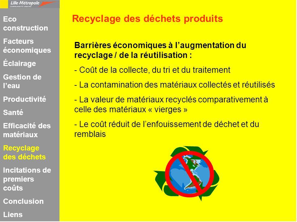 Barrières économiques à laugmentation du recyclage / de la réutilisation : - Coût de la collecte, du tri et du traitement - La contamination des matér