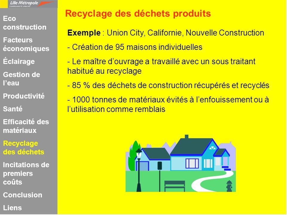 Recyclage des déchets produits Exemple : Union City, Californie, Nouvelle Construction - Création de 95 maisons individuelles - Le maître douvrage a t
