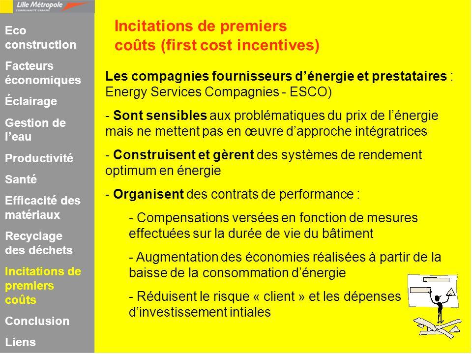 Les compagnies fournisseurs dénergie et prestataires : Energy Services Compagnies - ESCO) - Sont sensibles aux problématiques du prix de lénergie mais