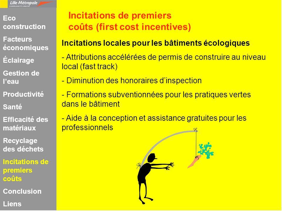 Incitations locales pour les bâtiments écologiques - Attributions accélérées de permis de construire au niveau local (fast track) - Diminution des hon