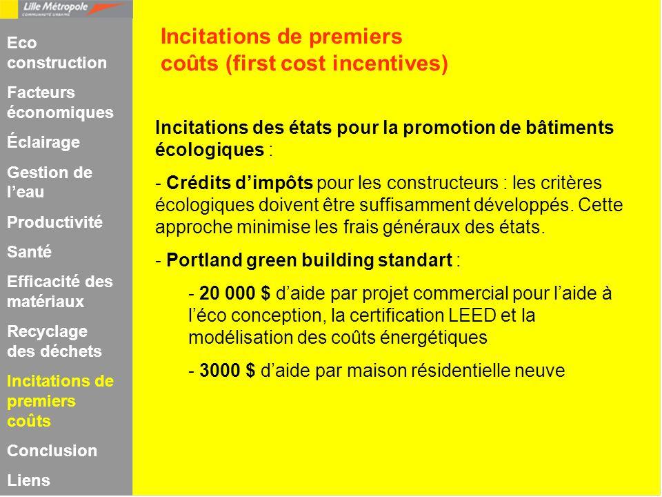 Incitations des états pour la promotion de bâtiments écologiques : - Crédits dimpôts pour les constructeurs : les critères écologiques doivent être su