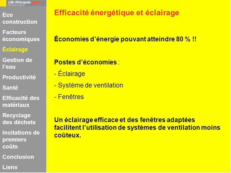 Économies dénergie pouvant atteindre 80 % !! Postes déconomies : - Éclairage - Système de ventilation - Fenêtres Un éclairage efficace et des fenêtres