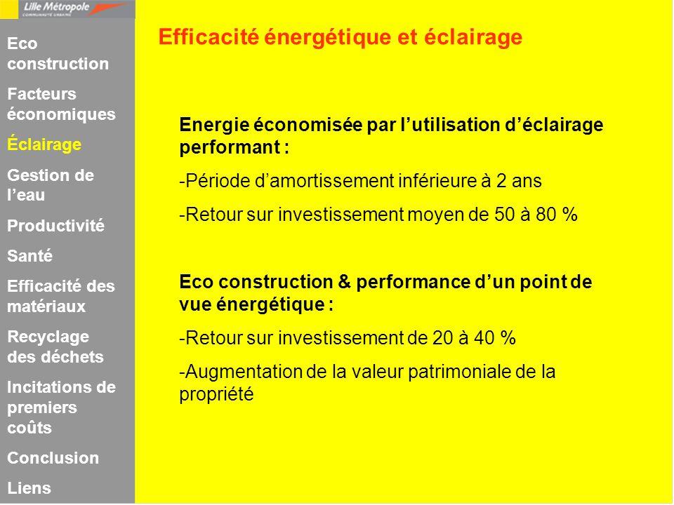 Energie économisée par lutilisation déclairage performant : -Période damortissement inférieure à 2 ans -Retour sur investissement moyen de 50 à 80 % E