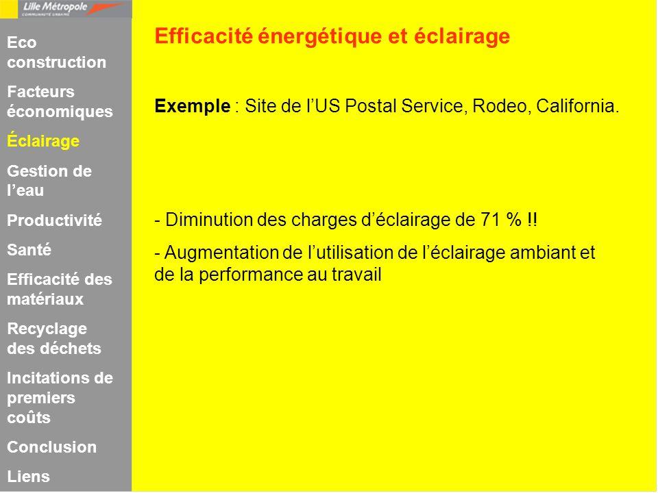 Exemple : Site de lUS Postal Service, Rodeo, California. - Diminution des charges déclairage de 71 % !! - Augmentation de lutilisation de léclairage a