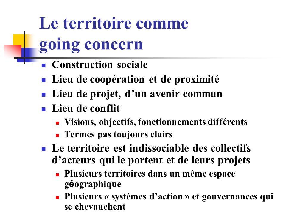 Le territoire comme going concern Construction sociale Lieu de coopération et de proximité Lieu de projet, dun avenir commun Lieu de conflit Visions,