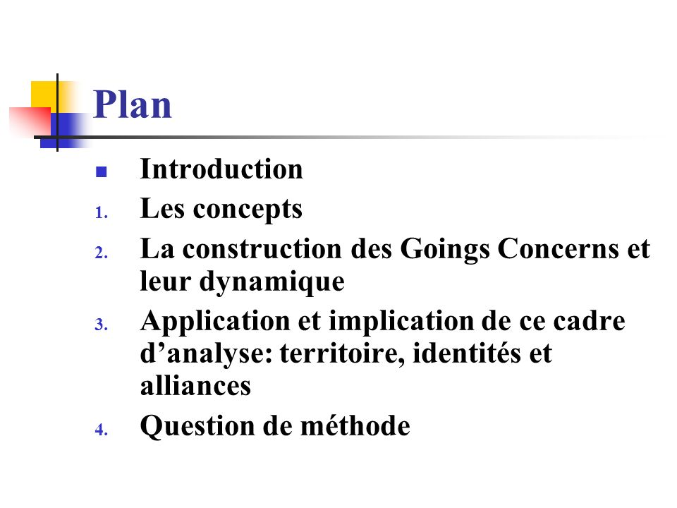 Plan Introduction 1. Les concepts 2. La construction des Goings Concerns et leur dynamique 3.