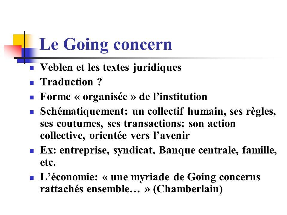 Le Going concern Veblen et les textes juridiques Traduction ? Forme « organisée » de linstitution Schématiquement: un collectif humain, ses règles, se