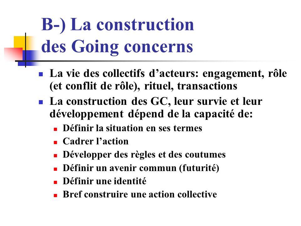 B-) La construction des Going concerns La vie des collectifs dacteurs: engagement, rôle (et conflit de rôle), rituel, transactions La construction des