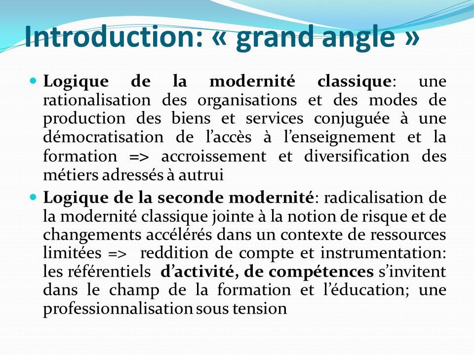 Introduction: « grand angle » Logique de la modernité classique: une rationalisation des organisations et des modes de production des biens et service