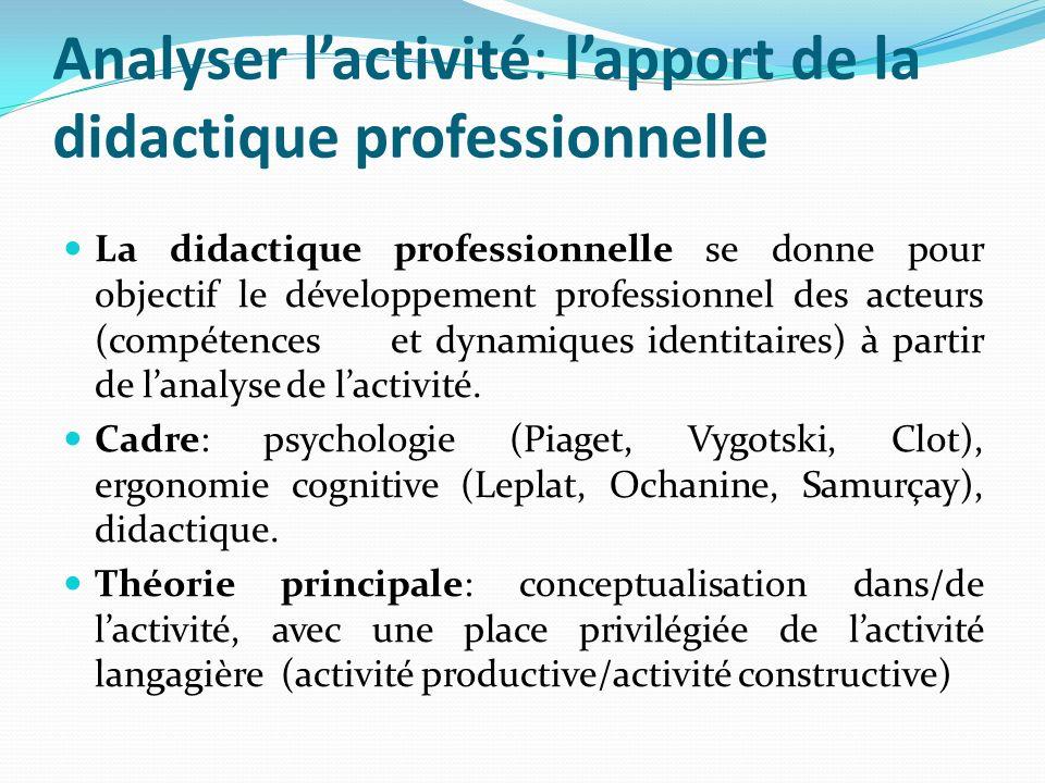 Analyser lactivité: lapport de la didactique professionnelle La didactique professionnelle se donne pour objectif le développement professionnel des a