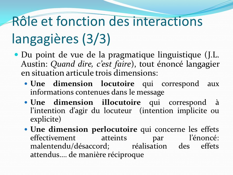 Rôle et fonction des interactions langagières (3/3) Du point de vue de la pragmatique linguistique (J.L. Austin: Quand dire, cest faire), tout énoncé