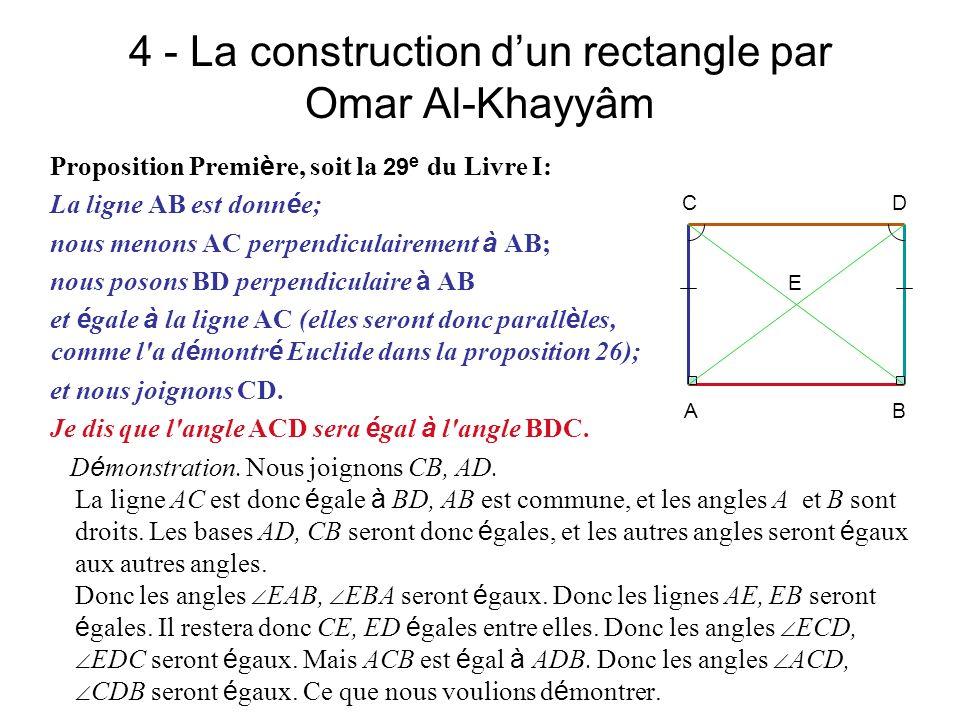 4 - La construction dun rectangle par Omar Al-Khayyâm Proposition Premi è re, soit la 29 e du Livre I: La ligne AB est donn é e; nous menons AC perpen