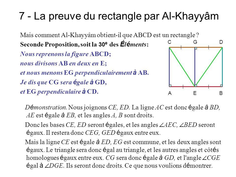 7 - La preuve du rectangle par Al-Khayyâm Mais comment Al-Khayyâm obtient-il que ABCD est un rectangle ? Seconde Proposition, soit la 30 e des É l é m